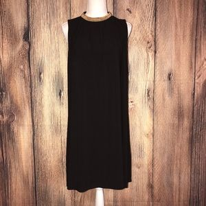 SPENSE SIZE 14 BLACK DRESS WITH GOLD BEADED NECK